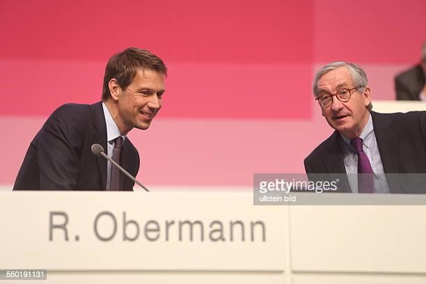 Der Vorstandsvorsitzende Rene Obermann mit dem Aufsichtsratsvorsitzenden Ulrich Lehner Deutsche Telekom Hauptversammlung Lanxess Arena