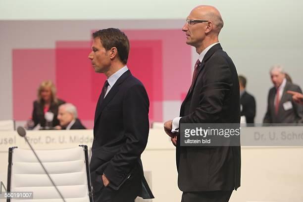 Der Vorstandsvorsitzende Rene Obermann und Finanzvorstand Timotheus Hoettges Deutsche Telekom Hauptversammlung Lanxess Arena
