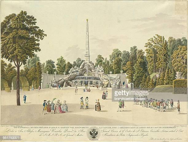'Der Wasserfall mit dem Obeliske in dem k k Garten von Schönbrunn' 1785 Engraving and etching by Laurenz Janscha and Johann Ziegler The only etat