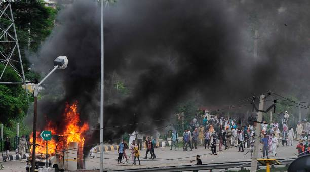 Dera followers attacked an OB van after the verdict on Dera chief on August 25 2017 in Chandigarh India Gurmeet Ram Rahim the selfstyled godman who...