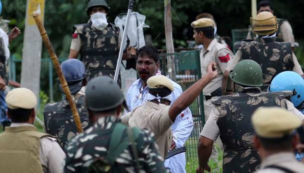 Dera followers attacked on of OB van after the verdict on dera chief on August 25 2017 in Chandigarh India Gurmeet Ram Rahim the selfstyled godman...