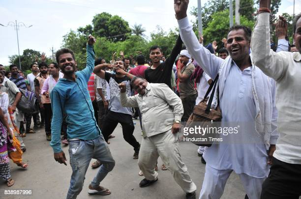 Dera Followers Celebrating when they got fake news about releasing of Dera chief Gurmeet Ram Rahim Singh insan from CBI court while later he was...