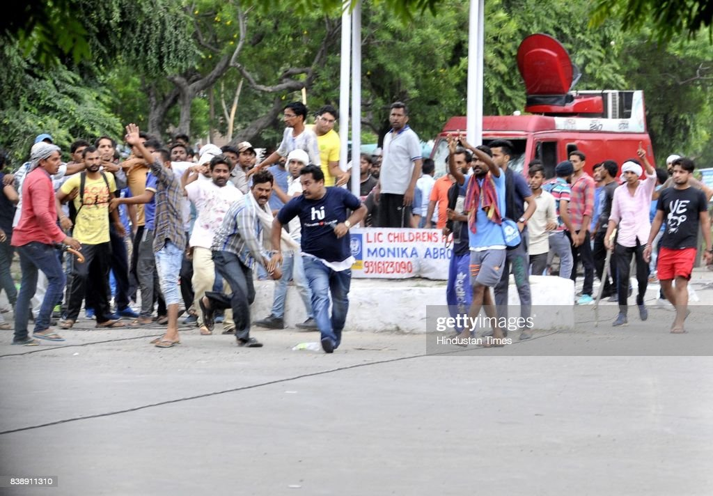 Dera followers damaged the media vehicles and attacked one of media person in panchkula sector 4 after the dera chief verdict at CBI court on August..