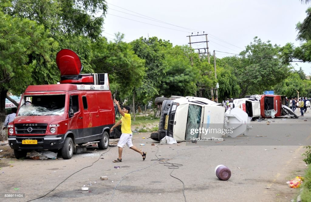Dera followers Damaged the media vehicles in panchkula sector 4 after the dera chief verdict at CBI court on August 25 2017 in Panchkula India...