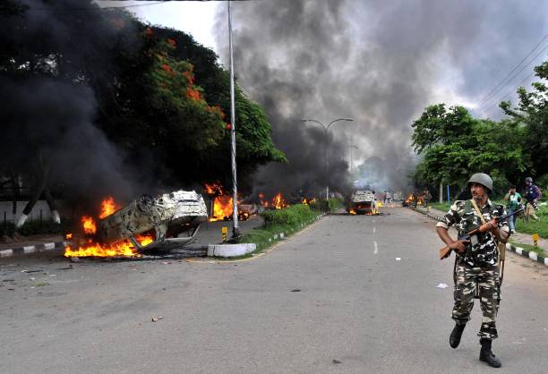 Dera followers set vehicles on fire in Panchkula sector 4 after the dera chief verdict at CBI court on August 25 2017 in Panchkula India Gurmeet Ram..