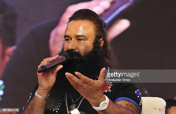 Dera Saccha Sauda chief Gurmeet Ram Rahim Singh talks to the media about his movie MSG The Messenger of God at Leisure Valley Ground on January 16...