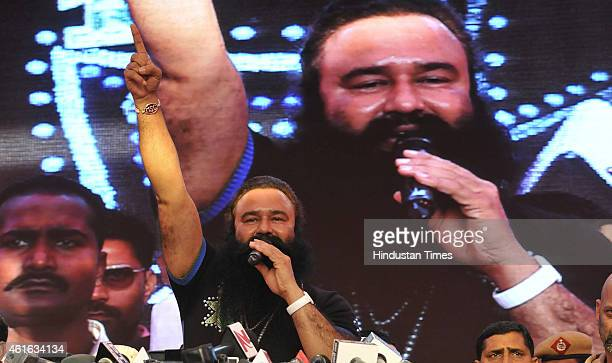 Dera Saccha Sauda chief Gurmeet Ram Rahim Singh talks to the media about his movie MSG - The Messenger of God at Leisure Valley Ground on January 16,...