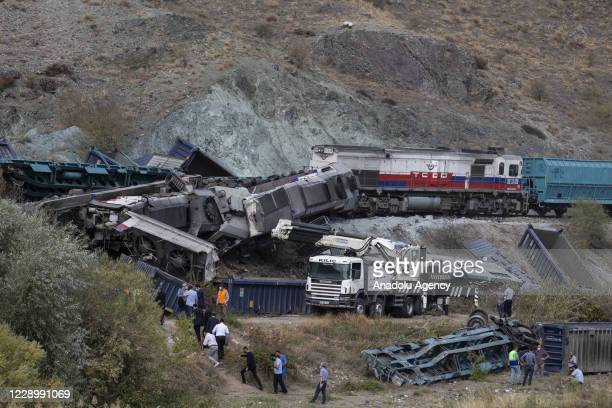 Derailed and tipped over train cars are seen after two freight trains collided on the 6th kilometer of Kirikkale railway in Kalecik district of...
