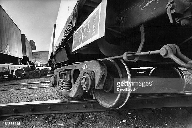 JUN 15 1977 Derailed Freight Cars Lie Across Track Under Broadway Viaduct Ten rail cars were damaged about 3 am Wednesday when a Union Pacific...