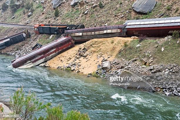 Derailed train leaking diesel fuel into river