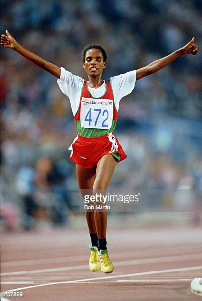 Derartu Tulu of Etheopia celebrates after winning the women''s 10000m during the 1992 Barcelona Olympic Games in Barcelona Spain Mandatory Credit Bob...