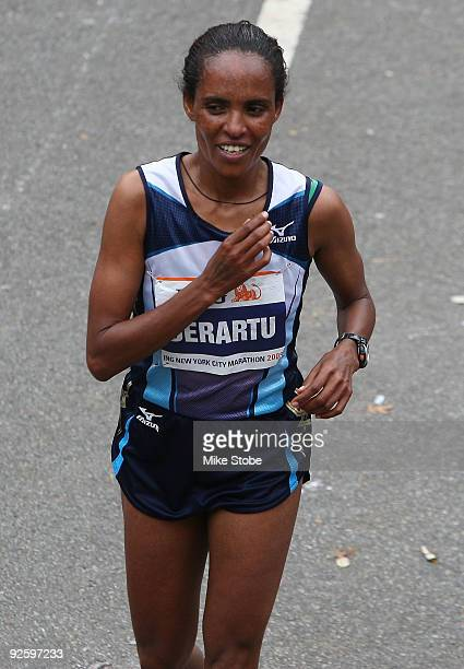 Derartu Tulu of Ethiopia celebrates after winning the 40th womens ING New York City Marathon on November 1 2009 in New York City