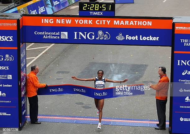 Derartu Tulu of Ethiopia croses the finish line to win the 40th womens ING New York City Marathon on November 1 2009 in New York City