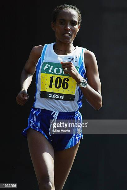 Derartu Tulu of Ethiopia in action during the Flora London Marathon held on April 13 2003 in London
