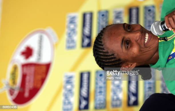 Derartu Tulu of Ethiopia participates in the 14th IAAF World Half Marathon Championships news conference at the Fairmont Hotel McDonald September 30...