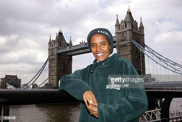 Derartu Tulu of Ethiopia poses at Tower Bridge prior to the 2003 Flora London Marathon on April 9 2003 in London
