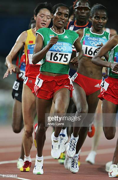Derartu Tulu of Ethiopia runs in the women's 10000 metre event on August 27 2004 during the Athens 2004 Summer Olympic Games at the Olympic Stadium...