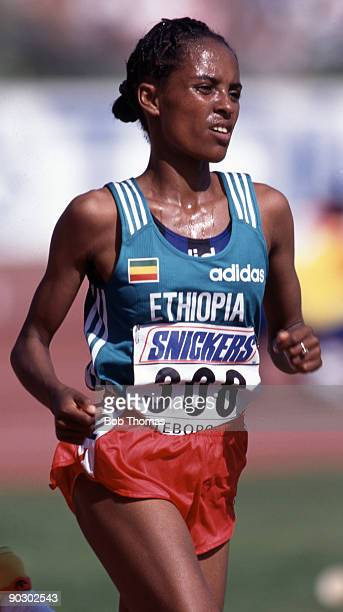 Derartu Tulu of Ethiopia silver medal winner of the women's 10000m at the 5th World Athletics Championships held in Gothenburg Sweden in August 1995
