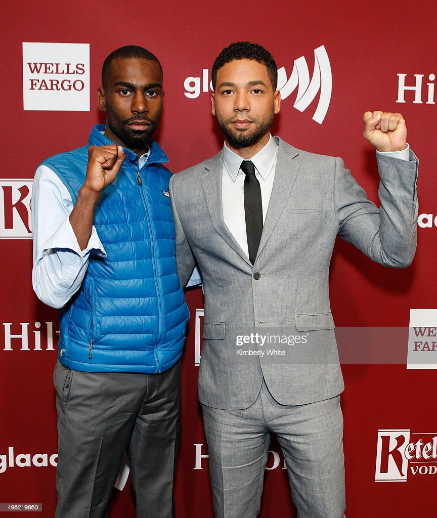 DeRay Mckesson (L) and Jussie Smollett at the GLAAD Gala at the Hilton San Francisco on November 7, 2015 in San Francisco, California.