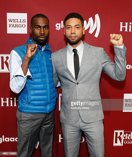 DeRay Mckesson and Jussie Smollett at the GLAAD Gala at the Hilton San Francisco on November 7 2015 in San Francisco California