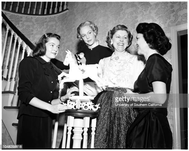 Derby ball preview, 31 January 1952. Mrs William Good;Mrs Anita Prinsep;Mrs Robert Anderson;Carol Elliott;Mrs Elizabeth Hofert Dailey;Mrs Edward...