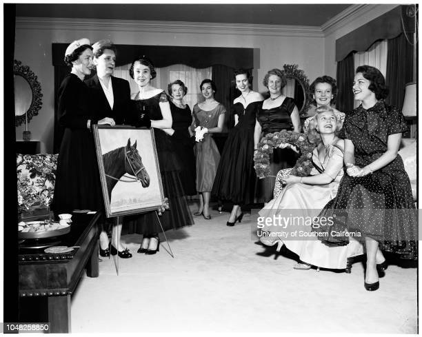 Derby ball preview, 31 January 1952. Mrs William Good;Mrs Anita Prinsep;Mrs Robert Anderson;Carol Elliott;Mrs Elizabeth Hofert Dailey;Mrs Edward...
