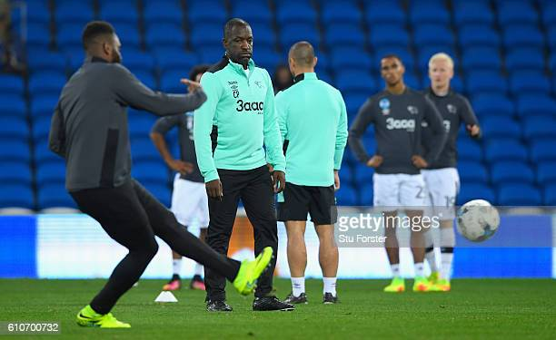 Derby coach Chris Powell looks on before the Sky Bet Championship match between Cardiff City and Derby County at Cardiff City Stadium on September 27...