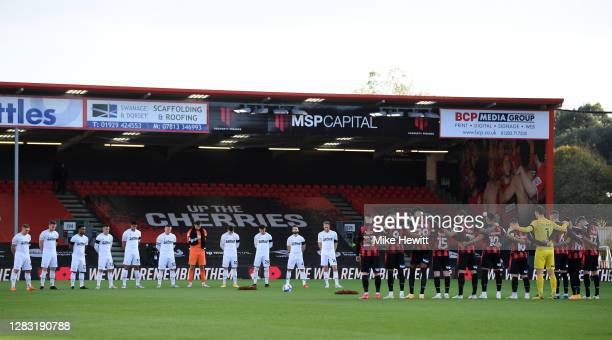 Derby County and AFC Bournemouth players observe a minutes silence in memory of former England player Nobby Stiles MBE and to mark Armistice Day...