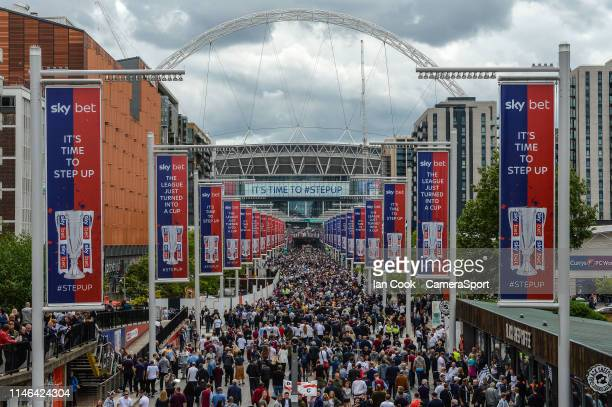 Derby County and Aston Villa fans make there way up Wembley way prior to the Sky Bet Championship Playoff Final match between Aston Villa and Derby...