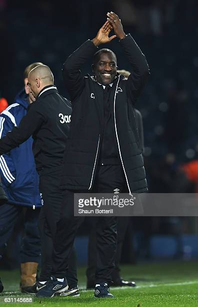 Derby County assistant manager Chris Powell applauds supporters after the Emirates FA Cup Third Round match between West Bromwich Albion and Derby...