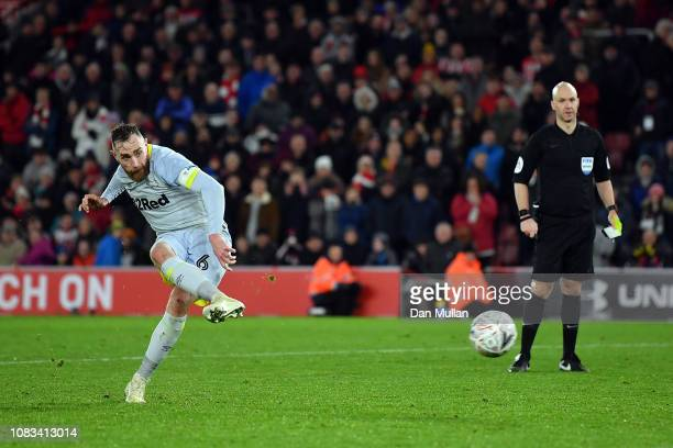 Derby County Captain Richard Keogh scores in the penalty shoot out during the FA Cup Third Round Replay match between Southampton FC and Derby County...