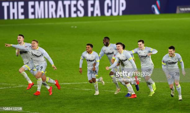 Derby County celebrate after winning the penalty shoot out to win the FA Cup Third Round Replay match between Southampton FC and Derby County at St...