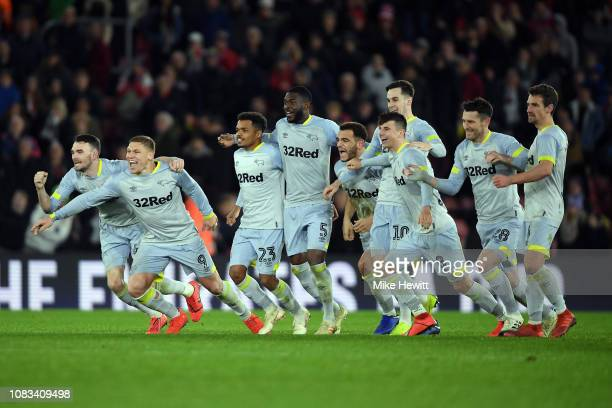 Derby County celebrate wining the penalty shoot out in the FA Cup Third Round Replay match between Southampton FC and Derby County at St Mary's...