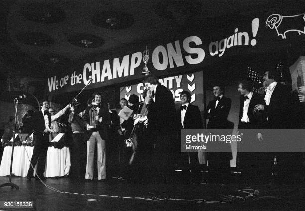 Derby County celebration dinner after winning the Division One League Championship as they hear the result of the Manchester City v Ipswich game,...
