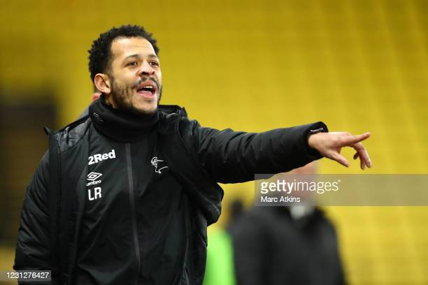 Derby County coach assistant Liam Rosenior during the Sky Bet Championship match between Watford and Derby County at Vicarage Road on February 19,...
