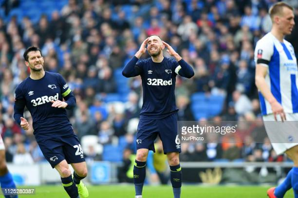 Derby County defender Richard Keogh gets frustrated during the Emirates FA Cup 5th round tie between Brighton and Hove Albion and Derby County at the...