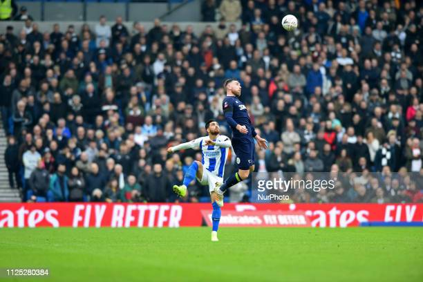 Derby County defender Richard Keogh wins the aerial ball from Brighton forward Alireza Jahanbakhsh during the Emirates FA Cup 5th round tie between...
