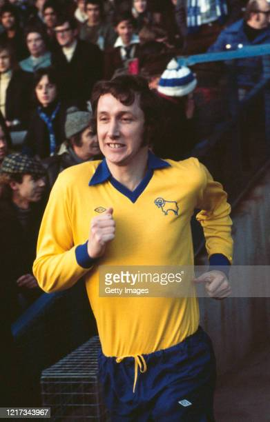 Derby County defender Rod Thomas takes the field wearing the yellow and blue umbro change kit for a match against Queens Park Rangers at Loftus Road...