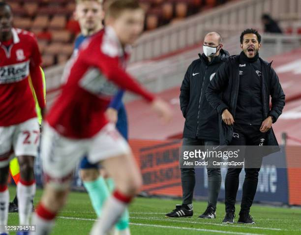 Derby County first team coach Liam Rosenior shouts instructions to his team from the technical area during the Sky Bet Championship match between...