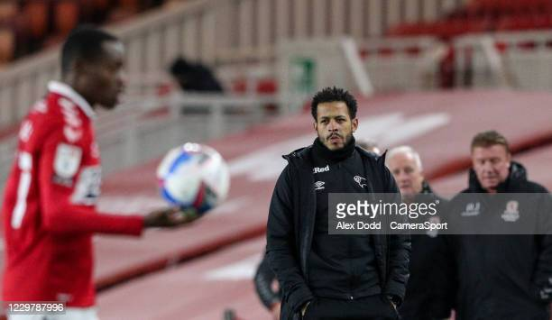 Derby County first team coach Liam Rosenior watches on during the Sky Bet Championship match between Middlesbrough and Derby County at Riverside...
