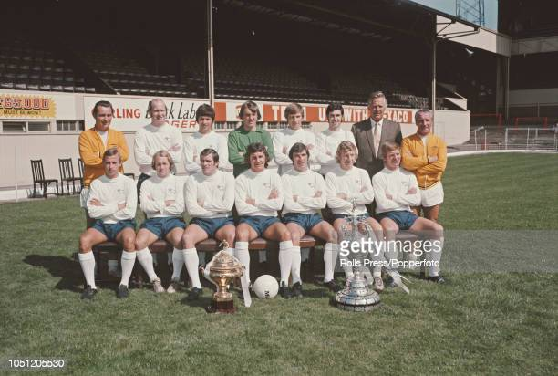 Derby County Football Club squad players posed together at the start of the 19721973 First Division season at the club's Baseball Ground stadium in...