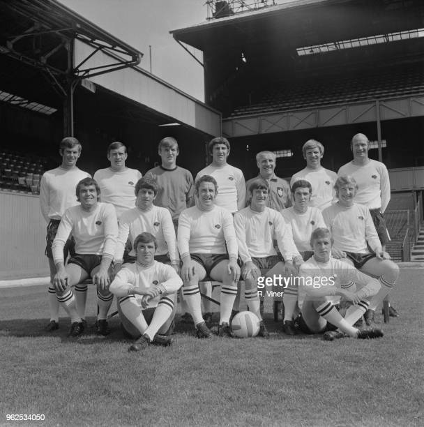 Derby County Football Club team squad posed together on the pitch at The Baseball Ground in Derby at the start of the 197071 football season on 21st...