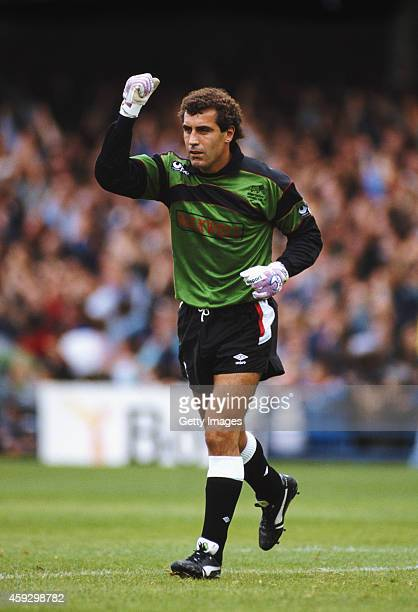 Derby County goalkeeper Peter Shilton reacts during a League match circa 1991 at the Baseball Ground in Derby England