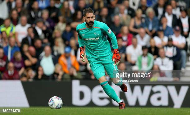 Derby County goalkeeper Scott Carson during the Sky Bet Championship match between Derby County and Nottingham Forest at the Pride Park Stadium on...
