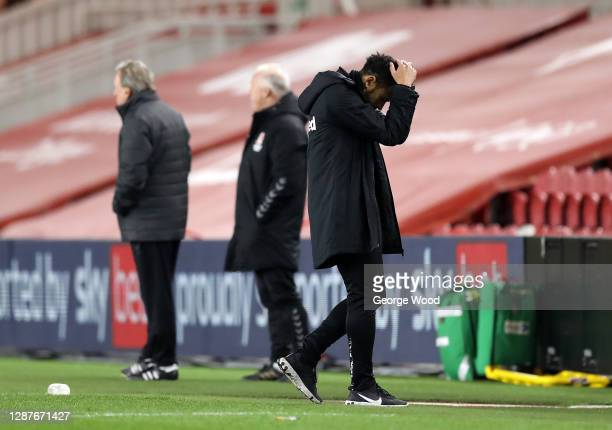 Derby County Head Coach, Liam Rosenior reacts during the Sky Bet Championship match between Middlesbrough and Derby County at Riverside Stadium on...