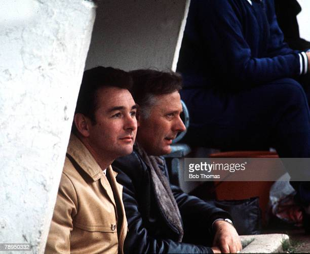 Derby County management duo Brian Clough and Peter Taylor pictured in the dugout Circa 1970's