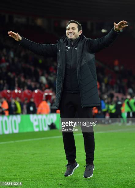 Derby County Manager Frank Lampard celebrates after his side win the penalty shoot out during the FA Cup Third Round Replay match between Southampton...