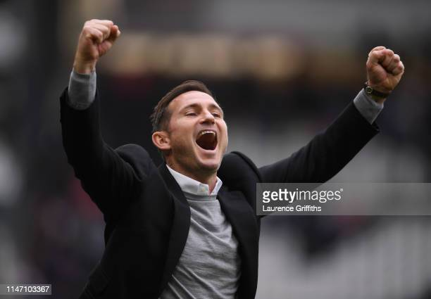 Derby County manager Frank Lampard celebrates securing a playoff place after victory in the Sky Bet Championship match between Derby County and West...
