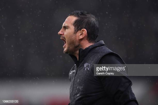 Derby County Manager Frank Lampard instructs his team during the Sky Bet Championship match between Stoke City and Derby County at Bet365 Stadium on...