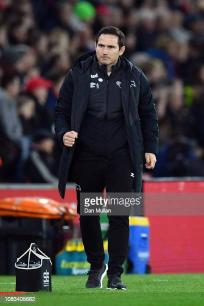 Derby County Manager Frank Lampard reacts during the FA Cup Third Round Replay match between Southampton FC and Derby County at St Mary's Stadium on...